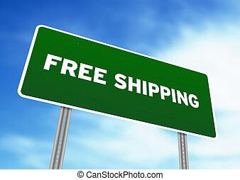 gratis, skeppning, huvudvägen undertecknar