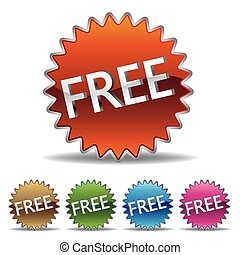 gratis, starburst, etikett