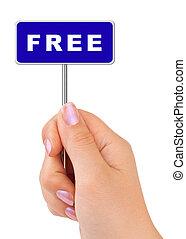 gratis, underteckna, in, hand