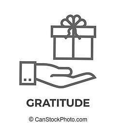 gratitud, línea, vector, delgado, icono
