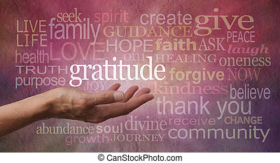 Gratitude Attitude - Female hand outstretched with palm up...