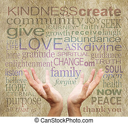 Gratitude Attitude - Healer's open outstretched hands with a...