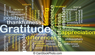 Background concept wordcloud illustration of gratitude glowing light