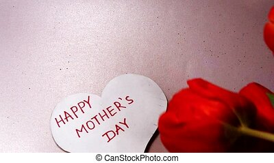 gratitude, coeur, mère, tulipes, salutation, forme, jour,...