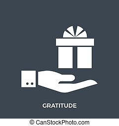Gratitude Glyph Vector Icon Isolated on the Black Background...