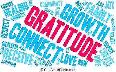 gratitude, nuage, mot