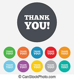 gratitude, remercier, symbole., signe, vous, icon.
