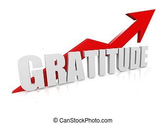 Gratitude with upward red arrow