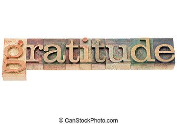 gratitude word in wood type