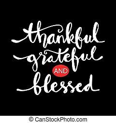grato, abençoado, lettering, agradecido