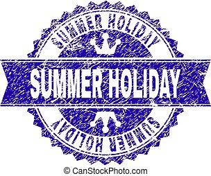 gratté, été, timbre, cachet, textured, vacances, ruban