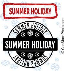 gratté, été, timbre, cachets, propre, année, nouveau, vacances