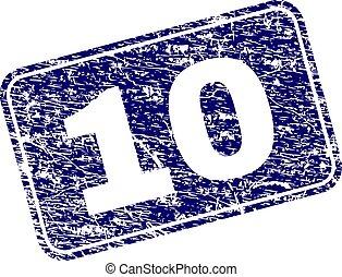 gratté, 10, arrondi, timbre, encadré, rectangle
