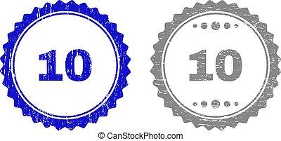 gratté, 10, timbre, cachets, textured, ruban