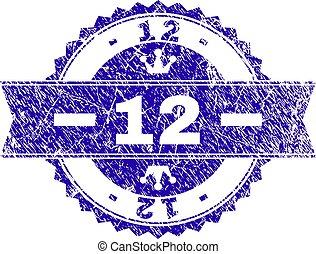 gratté, 12, timbre, textured, cachet, ruban