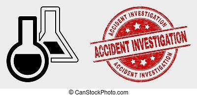 gratté, accident, watermark, vecteur, chimique, investigation, verrerie, icône