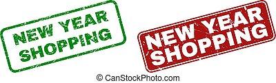 gratté, achats, timbre, nouveau, cachets, année, cadres, arrondi, rectangle