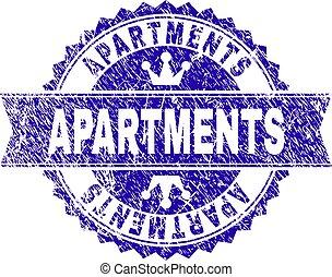 gratté, appartements, timbre, cachet, textured, ruban