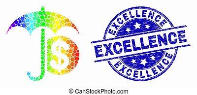 gratté, arc-en-ciel, financier, coloré, vecteur, excellence, pixelated, cachet, parapluie, icône