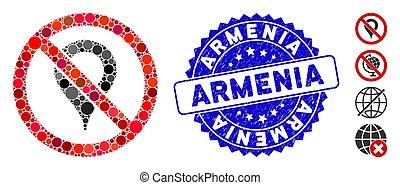 gratté, arménie, mosaïque, marqueur, icône, carte, non, cachet