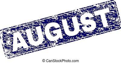 gratté, arrondi, août, timbre, encadré, rectangle