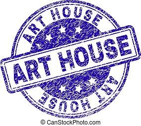 gratté, art, timbre, maison, cachet, textured