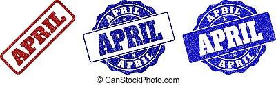 gratté, avril, timbre, cachets