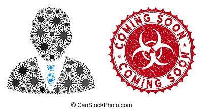 gratté, cachet, patron, coronavirus, mosaïque, icône, venir, bientôt