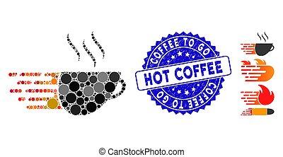 gratté, café, aller, mosaïque, exprès, chaud, icône, timbre