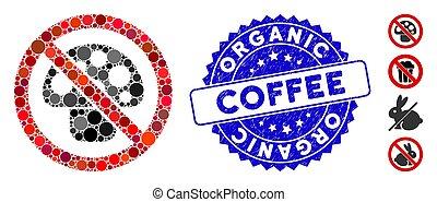 gratté, café, organique, mosaïque, champignon, icône, non, timbre