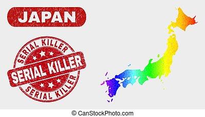 gratté, carte, coloré, tueur, cachet, japon, feuilleton, mosaïque