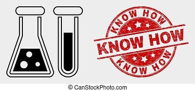 gratté, chimique, comment, vecteur, savoir, cachet, verrerie, icône