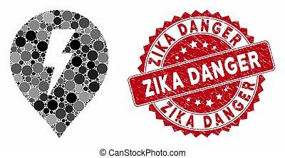 gratté, choc, zika, cachet, électrique, mosaïque, danger, marqueur