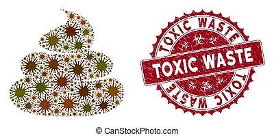 gratté, connerie, timbre, gaspillage, collage, coronavirus, icône, toxique