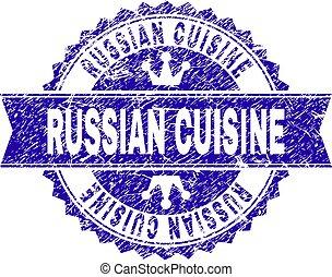 gratté, cuisine, timbre, cachet, textured, russe, ruban