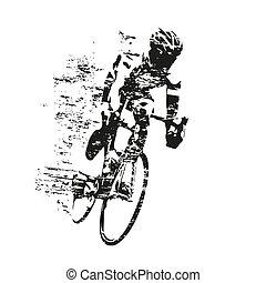 gratté, cycliste, silhouette, thème, vecteur, cyclisme, route