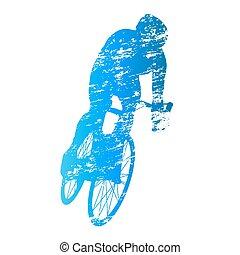 gratté, cycliste, vecteur, silhouette, route