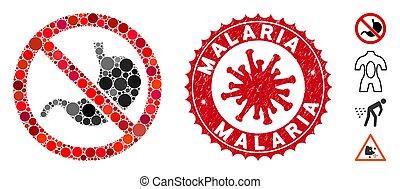 gratté, estomac, mosaïque, non, coronavirus, timbre, malaria, icône