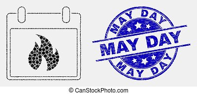 gratté, feuille, mai, chaud, vecteur, cachet, calendrier, jour, point, icône
