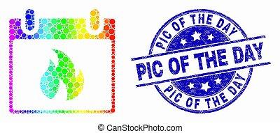 gratté, feuille, timbre, pic, spectre, chaud, vecteur, cachet, calendrier, jour, point, icône