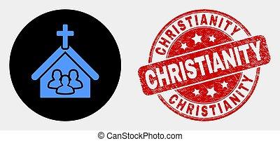 gratté, gens, timbre, église, christianisme, vecteur, cachet, icône