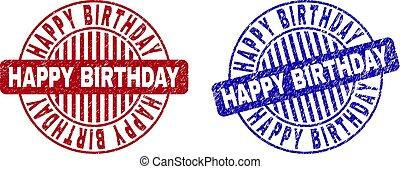 gratté, grunge, anniversaire, filigranes, rond, heureux