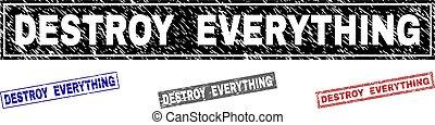 gratté, grunge, tout, timbres, détruire, rectangle
