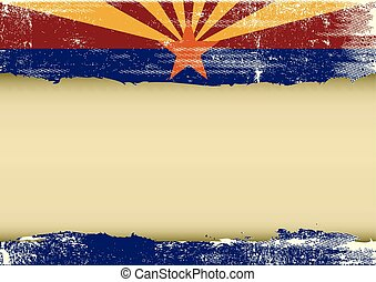 gratté, horizontal, drapeau arizona