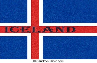 gratté, islandais, drapeau islande, grunge., bannière, texture