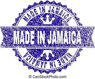 gratté, jamaïque, fait, timbre, textured, cachet, ruban