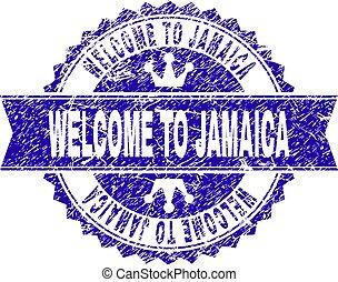 gratté, jamaïque, timbre, accueil, ruban, cachet, textured