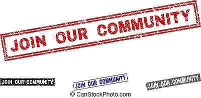 gratté, joindre, communauté, timbres, grunge, notre, rectangle