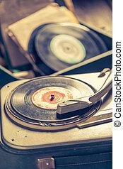 gratté, joueur, vieux, vinyls, enregistrement
