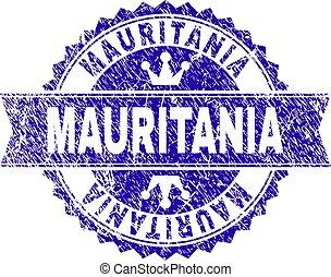 gratté, mauritanie, timbre, cachet, textured, ruban